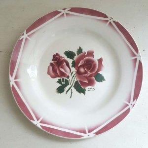 フランス・蚤の市・ブロカント・陶器・絵皿・花柄皿・薔薇柄