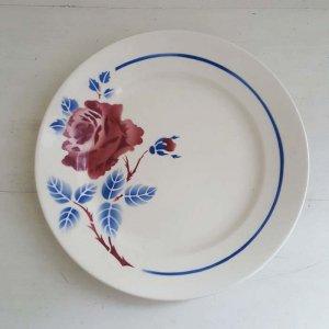 フランス・蚤の市・ブロカント・陶器・絵皿・花柄皿(L)