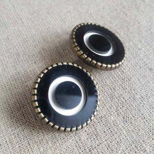 No.87/ブラック/2.5cm/レトロボタン・2個セット