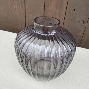 ガラス・フラワーベース・グレイッシュパープル
