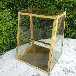 真鍮・アンティーク加工・ガラスケース・ガラスボックス・ジュエリーショーケース・台形