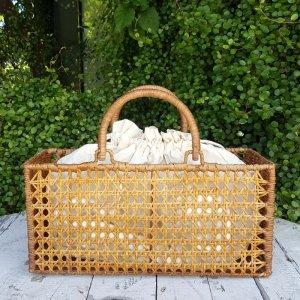 ラタンカゴバッグ・飾り編み・袋つき・ナチュラルカゴ・ベトナム