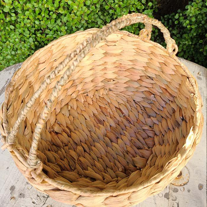持ち手つきバスケット(A)・ナチュラルカゴ・ベトナム サブイメージ