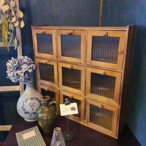 木製ボックス棚・ガラスキャビネット・9扉ボックス棚