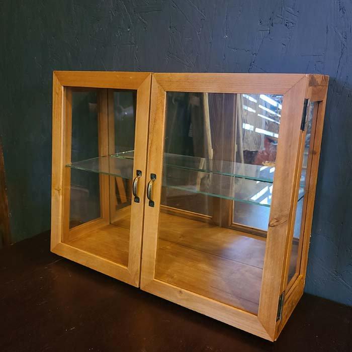 ガラス2段棚・ガラスケース・木製棚・ディスプレイ棚 メインイメージ