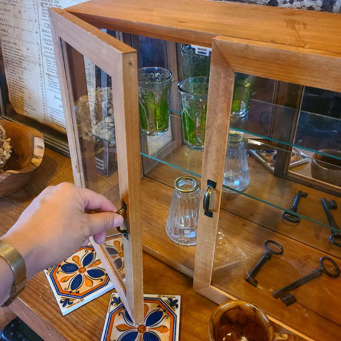 ガラス2段棚・ガラスケース・木製棚・ディスプレイ棚 サブイメージ