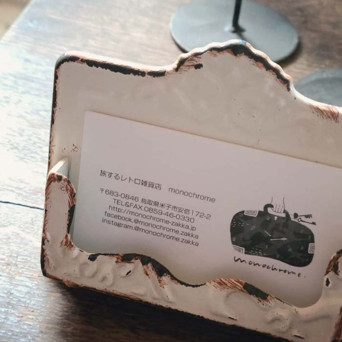 カードホルダー・名刺ケース・カードスタンド・ホワイト・アンティーク風 サブイメージ