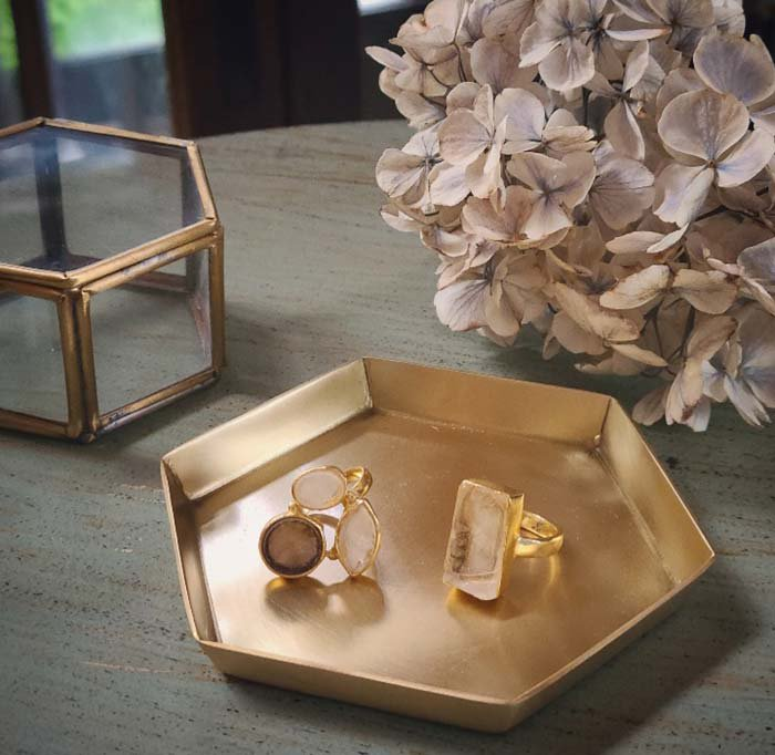 真鍮・ブラストレイヘキサゴン・アクセサリートレイ メインイメージ