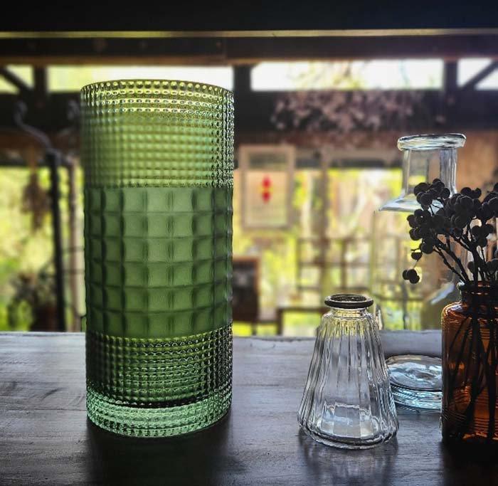 フォレストグリーン・シリンダー型・ガラスフラワーベース メインイメージ