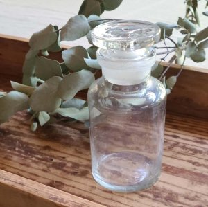 昭和レトロ・レトロガラス・ガラス瓶・クリアガラス・蓋付き瓶(B)