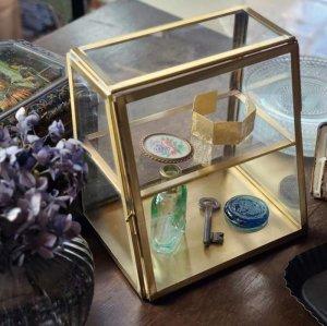 真鍮・アンティーク加工・ガラスケース(M)・ガラスボックス・ジュエリーショーケース・台形