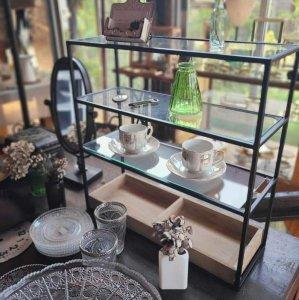 ガラス・木・オープンシェルフ・コレクション棚・3段シェルフ