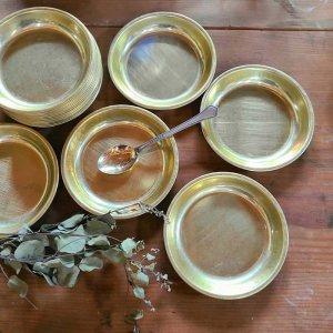 昭和レトロ・アルマイト・給食食器皿・ゴールド・アルミ皿・プレート