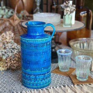 ビトッシ・フラビア(FLAVIA)・リミニブルー・ボトル・フラワーベース・陶器・イタリア