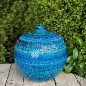 ビトッシ・フラビア(FLAVIA)・リミニブルー・丸フラワーベース・陶器・イタリア