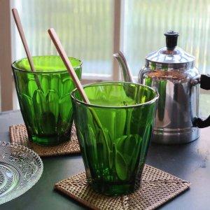グリーン・ガラスコップ