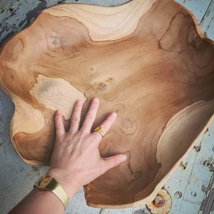 チーク・木製・大皿プレート・デザイントレイ サブイメージ