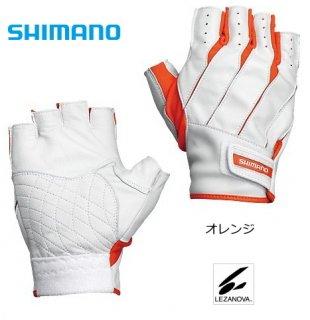 シマノ レザノヴァ(R) へらグローブ (5本指出し) GL-049K オレンジ 右手 Lサイズ (お取り寄せ商品)