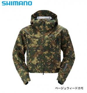 シマノ DSショートレイン RA-02SS ベージュウィードカモ 2XL(3L)サイズ / レインウエア (送料無料)(お取り寄せ商品)