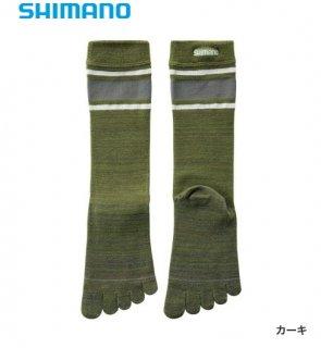 シマノ ブレスハイパー+℃ スタンダード5本指ソックス SC-040S カーキ フリーサイズ / ウエア (メール便可)