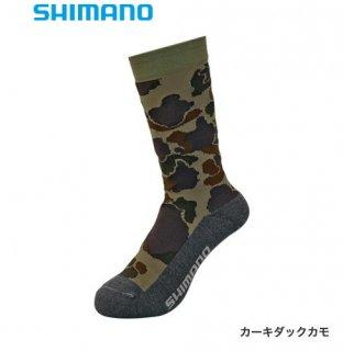 シマノ ブレスハイパー+℃ スタンダードソックス SC-041S カーキダックカモ フリーサイズ / ウエア (メール便可)
