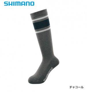 シマノ ブレスハイパー+℃ スタンダードロングソックス SC-046S チャコール フリーサイズ / ウエア (メール便可)