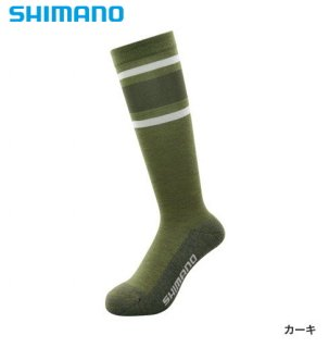 シマノ ブレスハイパー+℃ スタンダードロングソックス SC-046S カーキ フリーサイズ / ウエア (メール便可)