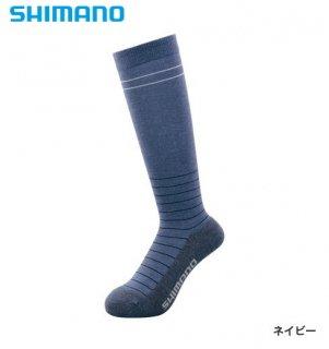 シマノ ブレスハイパー+℃ スタンダードロングソックス SC-046S ネイビー フリーサイズ / ウエア (メール便可)