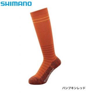 シマノ ブレスハイパー+℃ スタンダードロングソックス SC-046S パンプキンレッド フリーサイズ / ウエア (メール便可)