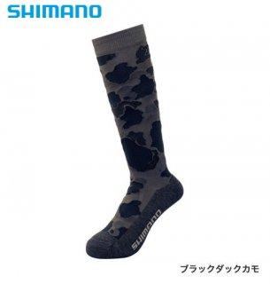 シマノ ブレスハイパー+℃ スタンダードロングソックス SC-046S ブラックダックカモ フリーサイズ / ウエア (メール便可)