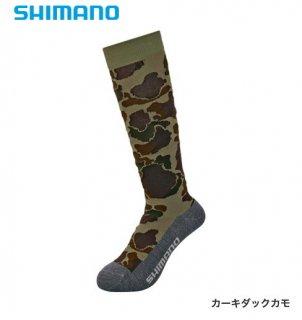 シマノ ブレスハイパー+℃ スタンダードロングソックス SC-046S カーキダックカモ フリーサイズ / ウエア (メール便可)