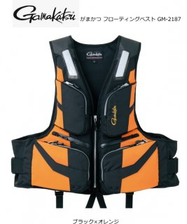 がまかつ フローティングベスト GM-2187 ブラック×オレンジ LLサイズ (お取り寄せ商品) (送料無料)