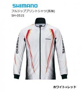 シマノ フルジッププリントシャツ(長袖) SH-051S ホワイト×レッド 2XL(3L)サイズ 【本店特別価格】