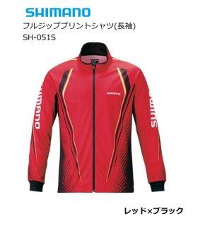 シマノ フルジッププリントシャツ(長袖) SH-051S レッド×ブラック Lサイズ 【本店特別価格】