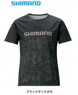 【セール】 シマノ Tシャツ (半袖) SH-096T ブラックダックカモ Mサイズ