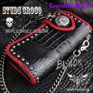 クロコダイル長財布 背面ブラック・スタッズ赤編み/インディアンスカルトリプルSKULL02