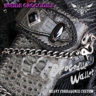 バイカーズウォレット/クロコダイル 長財布/クラウングレー/INSIDE CROCO/コブラ RIDERS-8