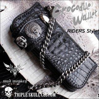 バイカーズウォレット/クロコダイル 長財布/クラウンブラック/スカルトリプル RIDERS-1