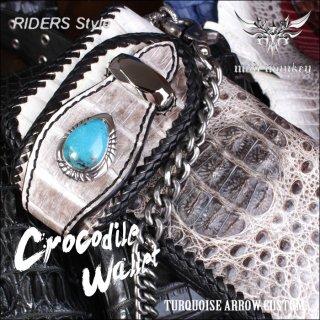 バイカーズウォレット/クロコダイル 長財布/クラウンビンテージホワイト/ターコイズARROW RIDERS-4