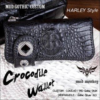 バイカーズウォレット/クロコダイル 財布/クラウンブラックmudゴシック Harley-1