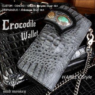 バイカーズウォレット/クロコダイル 長財布/クラウングレー グリーンターコイズコンチョ Harley-11