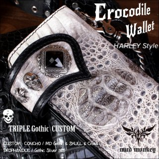 バイカーズウォレット/クロコダイル 長財布/クラウンビンテージホワイト ゴシックTRIPLE Harley-12