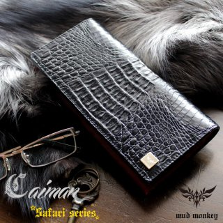 ワニ革カイマンレザー 長財布/ブラック/イタリアンレッド/カード収納20枚