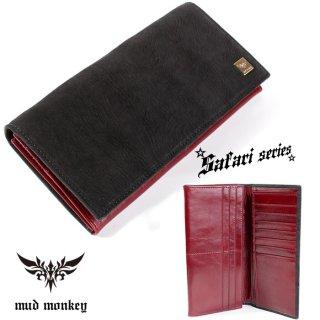 シャーク・サメ 長財布/ブラック/イタリアンレザーレッド/カード収納20枚