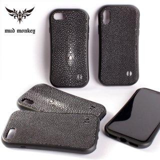 iphoneXS/X iphone8/7 レザーケース スティングレイレザー・エイ革 /ポリッシュブラック