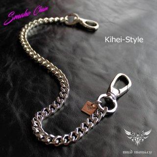スマートフォンチェーン・喜平キヘイ/ブラス真鍮・シルバーメタリック/ショートウォレットチェーン