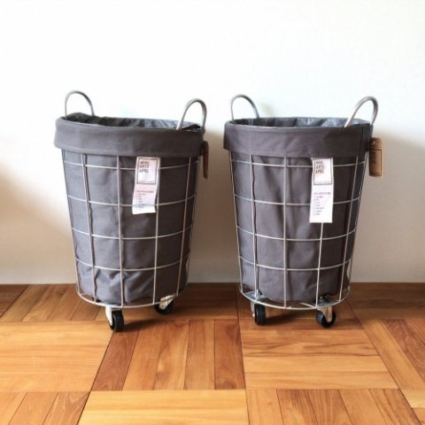 "WIRE ARTS & PRO. ""LAUNDRY ROUND BASKET WITH CASTER 33L"""