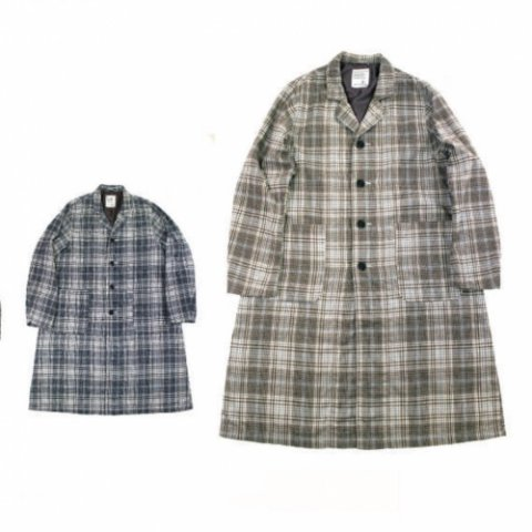 "H.UNIT STORE LABEL ""Flannel Check Long Atelier Coat"""
