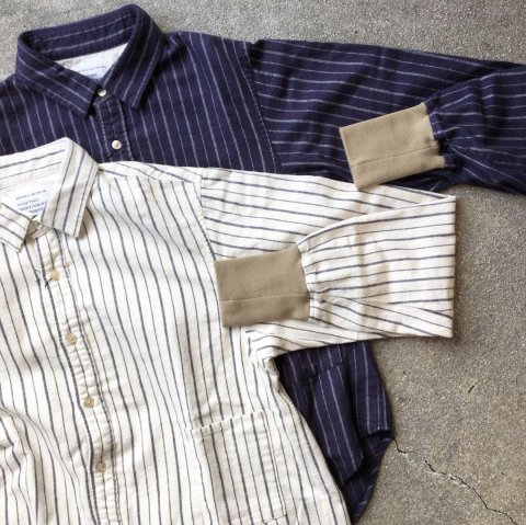 "H.UNIT STORE LABEL ""Flannel Stripe Long Sleeve Rib Shirt"""