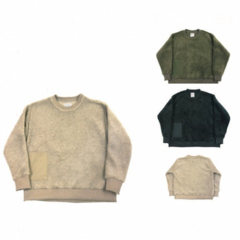 "H.UNIT STORE LABEL ""Boa Fleece Pocket Crew Neck"""